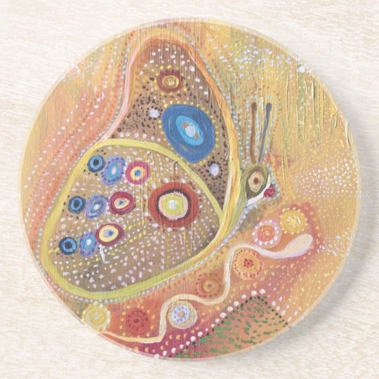 Butterfly Art Painting Sandstone Drink Coaster