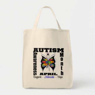Butterfly - Autism Awareness Month Grocery Tote Bag
