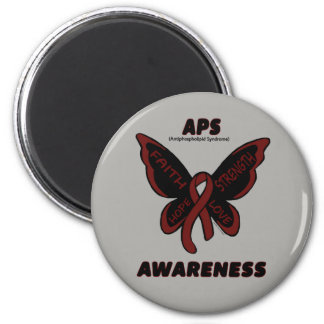 Butterfly/Awareness...APS 6 Cm Round Magnet