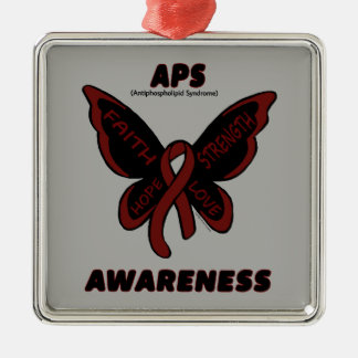 Butterfly/Awareness...APS Silver-Colored Square Decoration