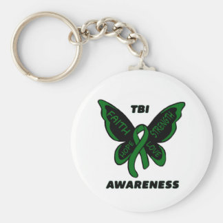 Butterfly/Awareness...TBI Basic Round Button Key Ring