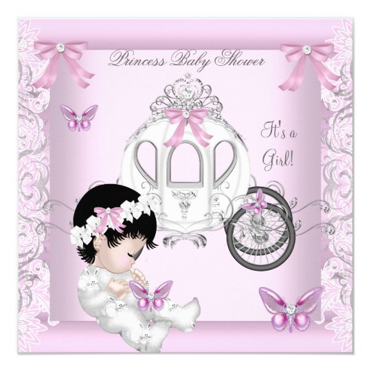 Butterfly Baby Shower Girl Princess Carriage Card