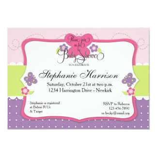 Butterfly Baby Shower in Purple Pink and Green 13 Cm X 18 Cm Invitation Card