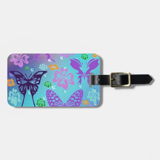 Butterfly Background Bag Tag