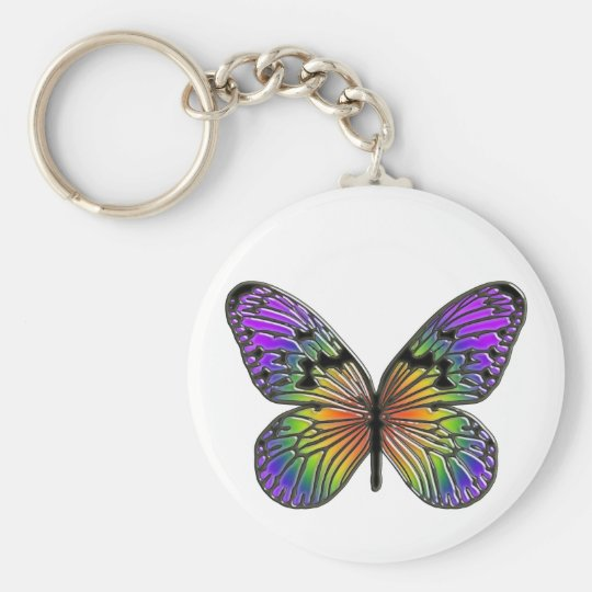 Butterfly Basic Round Button Key Ring