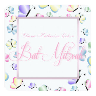 Butterfly Bat Mitzvah 5.25x5.25 Square Paper Invitation Card