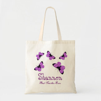 Butterfly Best Teacher Ever Custom Name Gift Tote Bag