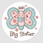 Butterfly Big Sister Round Stickers