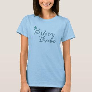 Butterfly Biker Babe Tee Shirt (Dark Turq)
