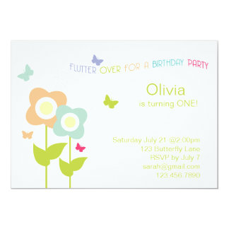 "Butterfly Birthday Invitation 5"" X 7"" Invitation Card"