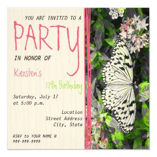 """Butterfly Birthday Invitation - Black White Color 5.25"""" Square Invitation Card"""