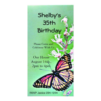Butterfly Birthday Invitation Customised Photo Card