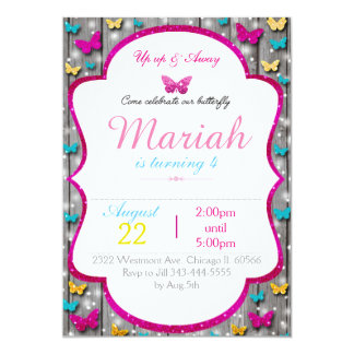 Butterfly birthday invitation cute wood sparkle