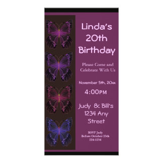 Butterfly Birthday Invitation Personalized Photo Card