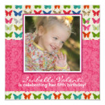 "Butterfly Birthday Party Invitation 5.25"" Square Invitation Card"