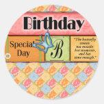 Butterfly Birthday Wishes Round Stickers