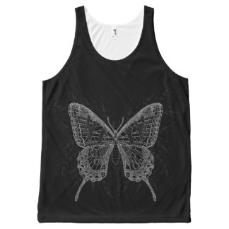 Butterfly Black And White Design Tank All-Over Print Tank Top