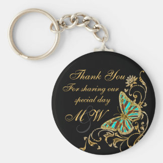 Butterfly black gold floral swirl keychains