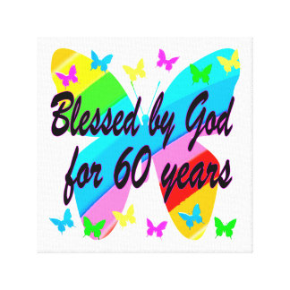 BUTTERFLY BLESSED BY GOD 60TH BIRTHDAY DESIGN GALLERY WRAPPED CANVAS