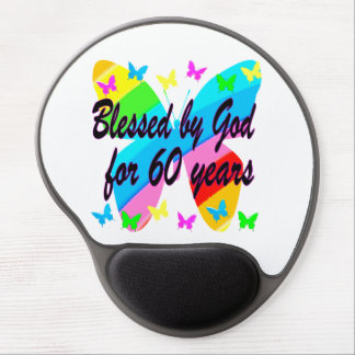 BUTTERFLY BLESSED BY GOD 60TH BIRTHDAY DESIGN GEL MOUSE PAD