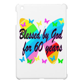 BUTTERFLY BLESSED BY GOD 60TH BIRTHDAY DESIGN iPad MINI CASES