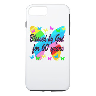 BUTTERFLY BLESSED BY GOD 60TH BIRTHDAY DESIGN iPhone 7 PLUS CASE