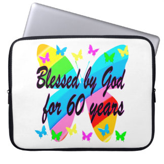 BUTTERFLY BLESSED BY GOD 60TH BIRTHDAY DESIGN LAPTOP SLEEVE