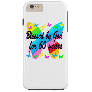 BUTTERFLY BLESSED BY GOD 60TH BIRTHDAY DESIGN TOUGH iPhone 6 PLUS CASE