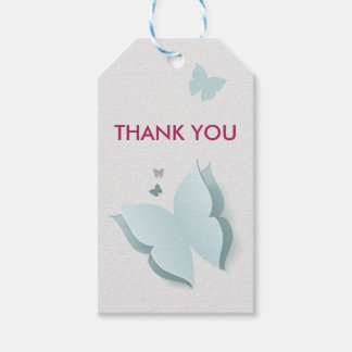 Butterfly Blue and Grey Baby Shower Gift Tags