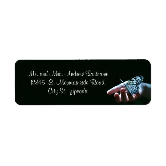 butterfly blue black address labels