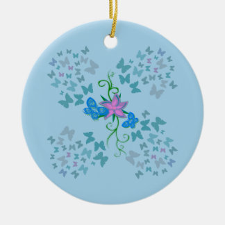 Butterfly Blue Christmas Ornament