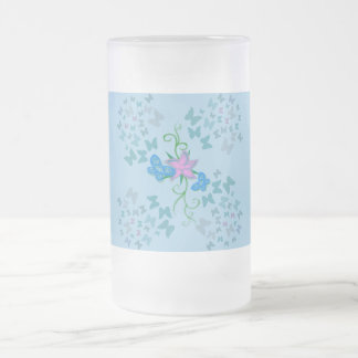 Butterfly Blue Frosted Glass Beer Mug
