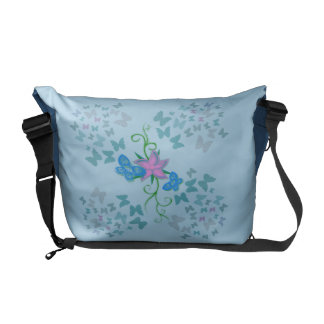 Butterfly Blue Messenger Bag