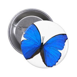 butterfly blue morpho flying skies pattern smile 6 cm round badge