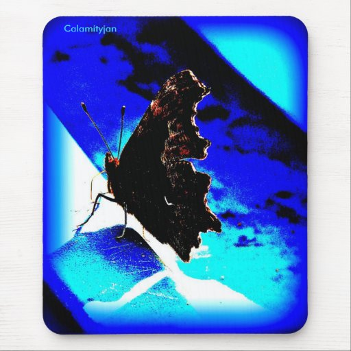 butterfly blue mousepad, Calamityjan Mouse Pad