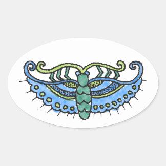 Butterfly Blue Oval Sticker