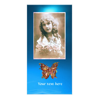 BUTTERFLY BLUE SAPPHIRE,red Personalised Photo Card