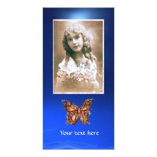 BUTTERFLY BLUE SAPPHIRE,red Picture Card