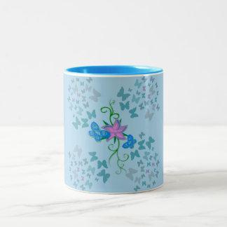 Butterfly Blue Two-Tone Coffee Mug