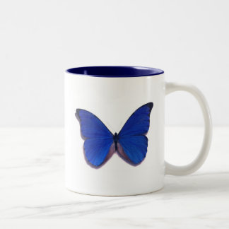 butterfly blue Two-Tone coffee mug