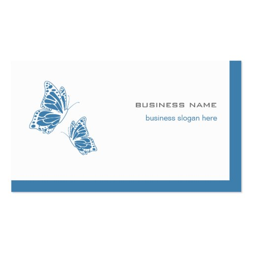 Butterfly Blue & White Elegant Modern Simple 2 Business Cards