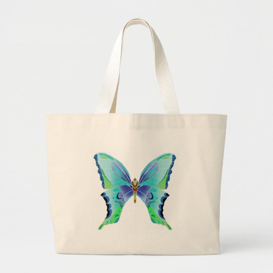 Butterfly Blues Large Tote Bag