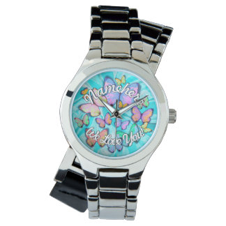 Butterfly Bracelet Watch! Personalize! We Love You Watch