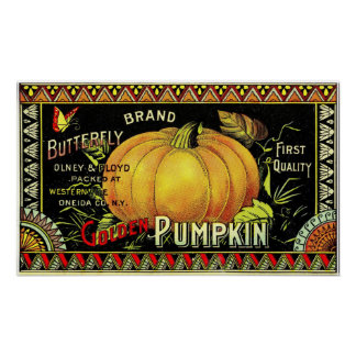 Butterfly Brand Pumpkins Crate Label Poster