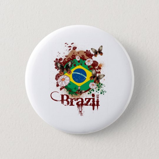 Butterfly Brazil 6 Cm Round Badge