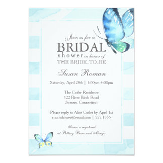 Butterfly Bridal Shower, Blue Watercolor Card