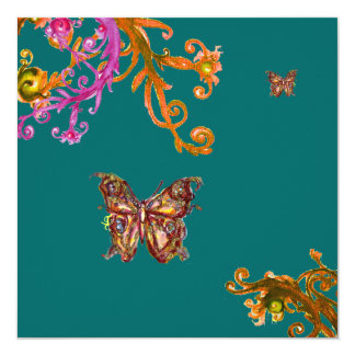 "BUTTERFLY , bright pink yellow green 5.25"" Square Invitation Card"