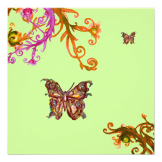 BUTTERFLY bright pink yellow green Custom Invites