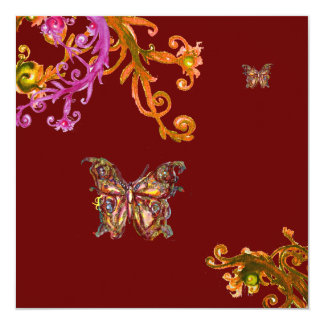 BUTTERFLY , bright pink yellow red Custom Invite
