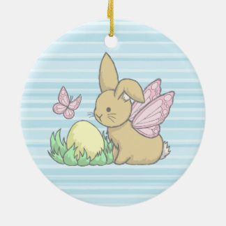 Butterfly Bunny and the Easter Egg Round Ceramic Decoration